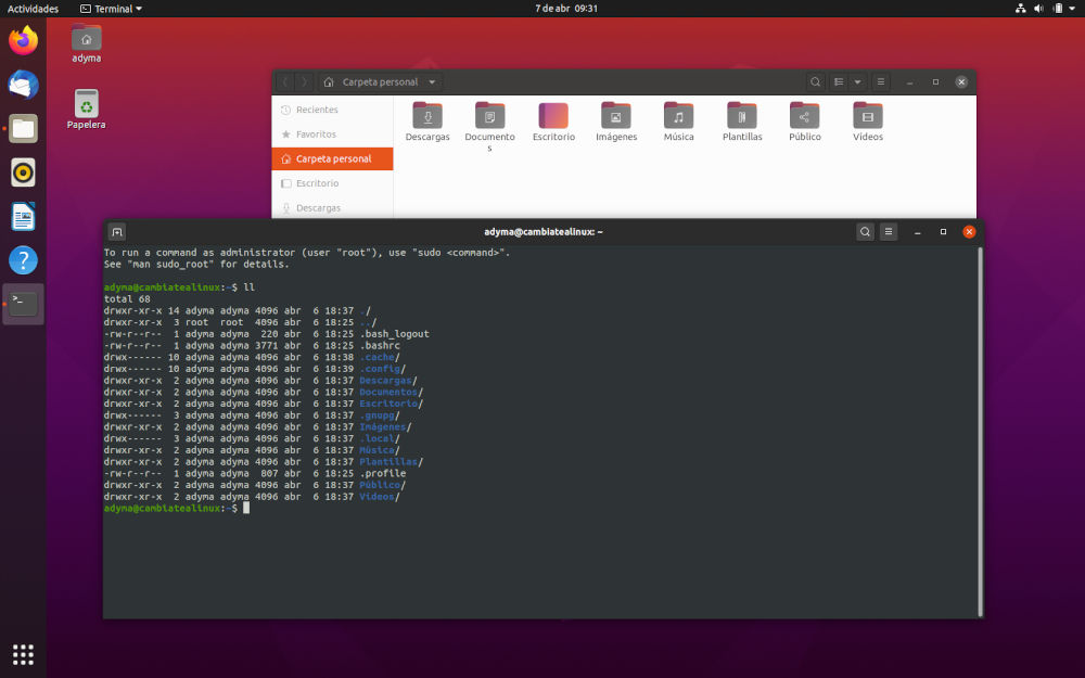 Escritorio Ubuntu 20.04 Beta