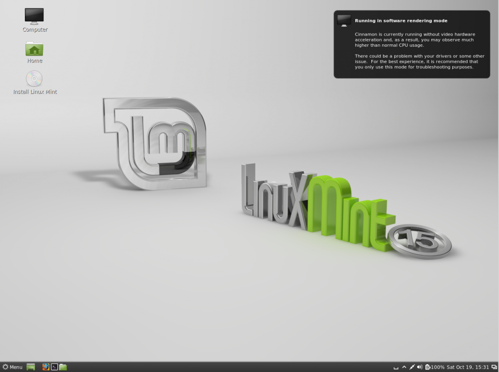 Linux Mint 15 live cd