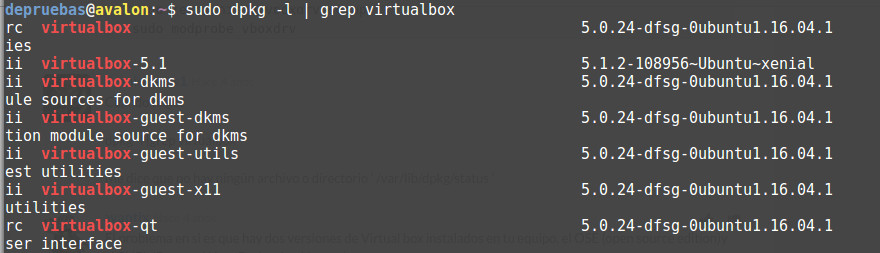 Listado de versiones de virtualbox