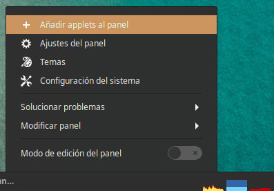 Menu del panel de  Linux Mint