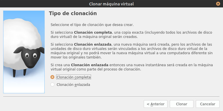 Virtualbox - clonar disco completo