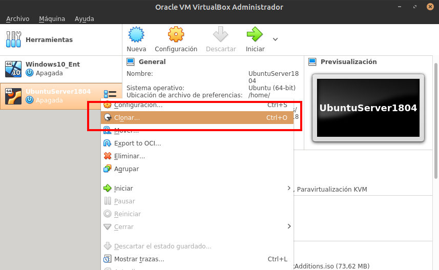 Virtualbox menu clonar disco