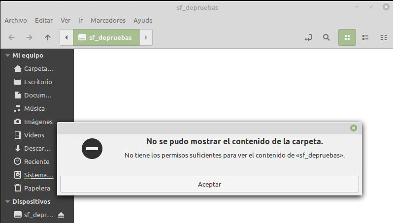 Error al compartir carpetas con VirtualBox