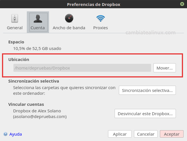 Ventana de preferencias de dropbox