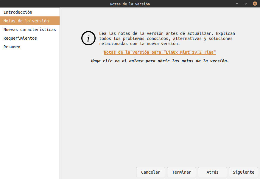 Actualizar Linux Mint 19.1 a 19.2 - notas version